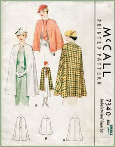Hey, I found this really awesome Etsy listing at https://www.etsy.com/ca/listing/386202644/1930s-30s-vintage-sewing-pattern-cape