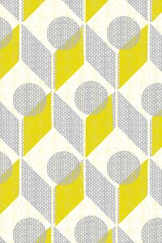Retro dots and arrows in gray, sunshine yellow, and pale yellow. This vintage retro design would loo Geometric Patterns, Geometric Fabric, Geometric Wallpaper, Graphic Patterns, Geometric Art, Abstract Pattern, Textures Patterns, Print Patterns, Pattern Print