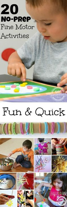 20 {No-Prep} Fine Motor Skills Activities These activities for kids are so easy to set-up. I love When you have a toddler, it can be hard to find activities that keep them busy and don't involve any prep on your part! These fine motor skills Motor Skills Activities, Infant Activities, Fine Motor Skills, Preschool Activities, Toddler Play, Toddler Learning, Toddler Preschool, Montessori, Kids Playing