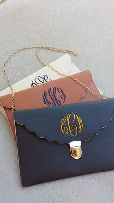 $10.99 | Fall Scalloped Monogram Clutches | Jane