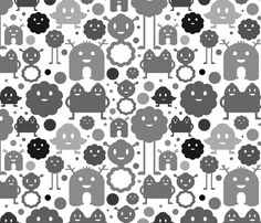 Monsters On the Loose - Black and White fabric by jesseesuem on Spoonflower - custom fabric