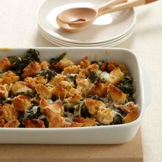 Crispy Baked Kale with Gruyère Cheese. Chef Sam Hayward usually tops these lush onion-sweetened greens with an excellent aged raw-milk cheese from Vermont called Tarentaise. He says Gruyère or any other Alpine-style cheese is a great substitute. Thanksgiving Casserole, Vegetarian Thanksgiving, Thanksgiving Recipes, Thanksgiving 2016, Kale Recipes, Vegetarian Recipes, Cooking Recipes, Cheese Recipes, Healthy Recipes
