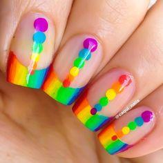 Rainbow French Tips with rainbow Polka Dots, Gay Pride, Free Hand Nail Art