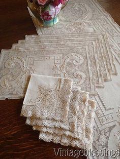 $78! Gorgeous Antique Lace & Linen Set Runner, 4 placemats, 4 napkins www.Vintageblessings.com