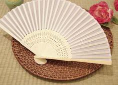 BalsaCircle 50 pcs Decorative Silk Fabric Folding Hand FANS Wedding Favors - White
