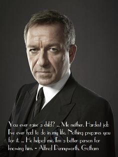 Sean Pertwee plays Alfred Pennyworth in Gotham.Alfred, Batman's butler) And yes. His dad is Jon Pertwee, famous for his role as the Third Doctor. Gotham Cast, Gotham Tv, Gotham Girls, Gotham Batman, Alfred Gotham, Gotham Quotes, Gotham Season 1, Sean Pertwee, Dc Movies