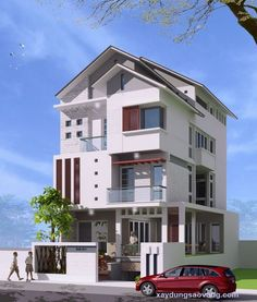 Thiết kế nhà biệt thự 3 tầng đẹp Home Fashion, Modern House Design, Kerala, Home Projects, House Plans, Villa, Construction, Architecture, House Styles