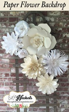 Paper flower backdrop for wedding, nursery, office, or anywhere you want to make beautiful. Colors can be customized!