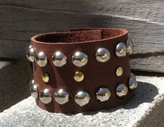 brown leather CUFF bracelet with studs by by whackytacky on Etsy, $24.99