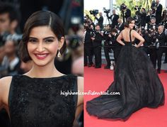 Hardly to anyone's surprise, it was an Elie Saab Couture gown for Sonam while at Cannes. With her hair in a faux bob, stunning Chopard earrings and a bold lip finished out the look.  The 'princess meets old world glam' isn't an aesthetic we are un-familiar with on Sonam. However, what lacks in novelty is more than made up by how well she works the look; she looked great. Love!