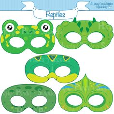 Reptile Printable Masks lizard mask turtle by HappilyAfterDesigns