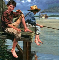 """Fishing on the Mississippi.  - """"Looking at the quiet flowing stream rather than at the intrusive cellphone screen"""""""