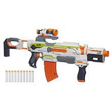 Get a whole arsenal in one blaster with the motorized Modulus ECS-10 blaster! This incredibly flexible blaster has a targeting scope, drop grip and dual-rail barrel, and its many removable parts let you customize your blaster in more than 30 combinations. Load up the blaster's 10-dart banana clip with the included darts and hit the battlefield in whatever configuration will make you the victor!<br><br>Nerf and all related terms are trademarks of Hasbro.