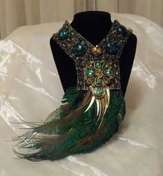 Feather Bib Necklace Beaded Peacock Statement by HopscotchCouture, $177.00