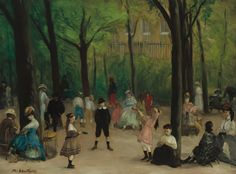 """William Glackens's ""Luxembourg Gardens"" revels in the casual moment of a relaxing afternoon at the park. What's the first thing you notice?"""