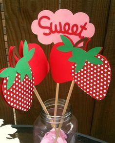 Strawberry Centerpieces - Strawberry Birthday Party - Baby Shower. $15.00, via Etsy.