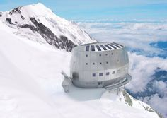 Mountain Climbers refuge on Mont Blanc, France. This building is designed to withstand winds, completely self sustainable and is built metres above the ground, from Iryna Eco Construction, Construction Process, Environmental Architecture, Environmental Studies, Places To Travel, Travel Destinations, Chamonix Mont Blanc, Mountain Climbers, Amazing Buildings