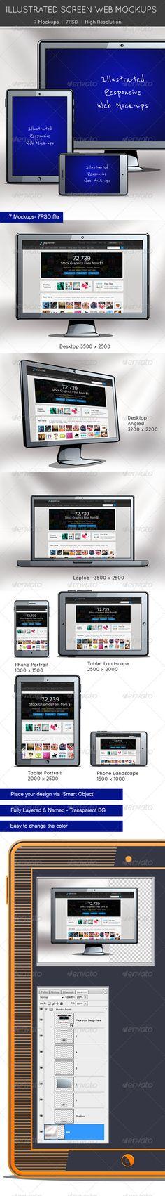 Illustrated Screen Web Mockups