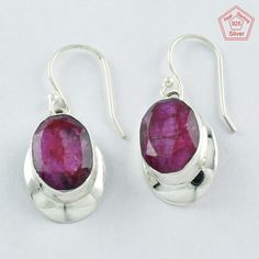 New Year Bonanza !! 925 Sterling Silver Ruby Agate Stone New Earrings #SilvexImagesIndiaPvtLtd #DropDangle