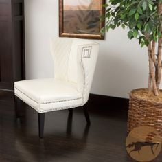 Tessa Ivory Quilted Bonded Leather Chair | Overstock.com Shopping - The Best Deals on Chairs