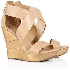 Diane von Furstenberg Opal Wood Heel Leather Sandal