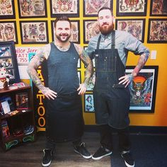 Miles Kane of Steveston Tattoo and Richard Andrews, Tattoo Artists wearing custom Search and Rescue Denim Aprons  #tattooapron #denimapron #customapron #waxedapron #tattooartist #tattoos #rawdenim #waxeddenim by http://searchandrescuedenim.com/