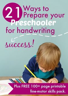 21 Ways to Prepare Your Preschooler for Handwriting Success How can you get your kids ready for handwriting? Love these 21 tips. My 3 year olds will have so much fun with the pages of FUN, FREE printables to help fine-motor coordination. Kindergarten Prep, Preschool Writing, Preschool Kindergarten, Preschool Learning, Writing Activities, Writing Skills, Preschool Activities, Motor Activities, Kindergarten Handwriting