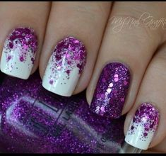 Purple & White Glitter Nails