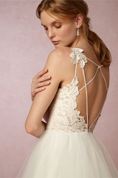 lace & tulle backless wedding dress | Hayden Gown from BHLDN