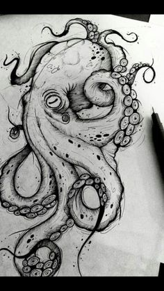 Octopus Design Octopus Tattoo Octopus black and white design sea background . - Octopus Design Octopus Tattoo Octopus Black and White Design Sea Background … – Octopus Design - Octopus Drawing, Octopus Tattoo Design, Octopus Tattoos, Octopus Art, Octopus Sketch, Tattoo Designs, Octopus Painting, Tattoo Ideas, Cute Octopus Tattoo