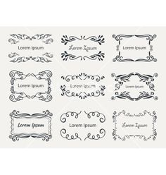 Hand-drawn elements vector vintage calligraphic frame - by Liubou on VectorStock®
