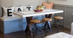 When you gather around a table to eat, you want to feel at home and comfortable. It should be a place that encourages conversation and Emily's breakfast nook is perfect for this because of its openness to the living room. It makes for a wonderful space to entertain and bring everyone together.