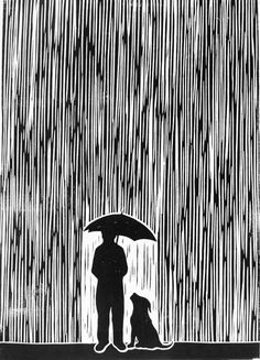 Lino Print Standing In The Rain by Chris Bourke.