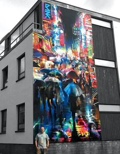 """New Street Art by Dan Kitchener for Bristol Upfest Upfest Street Mural, 3d Street Art, Amazing Street Art, Street Art Graffiti, Street Artists, Amazing Art, Illusion Kunst, Illusion Art, Graffiti Artwork"