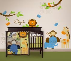 Children Wall Decal Wall Sticker tree decal - Animal Paradise Nursery Decal - KK113. $125.00, via Etsy.