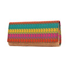 Banana fibre clutch with colorful cashews cotton fabric