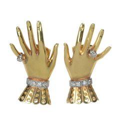 Gold & Diamond Hand and Glove Earclips Paul Flato