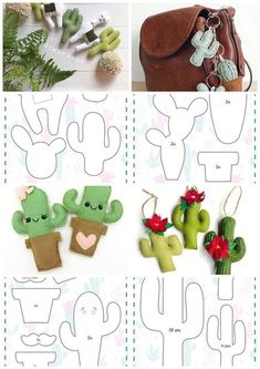 with Cactus Paper clip Planner accessories Felt clip Gifts for readers Felt Crafts Patterns, Felt Crafts Diy, Felt Diy, Fabric Crafts, Diy Sewing Projects, Sewing Crafts, Craft Projects, Cactus Craft, Cactus Cactus