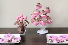 Pink and brown butterfinger dessert table