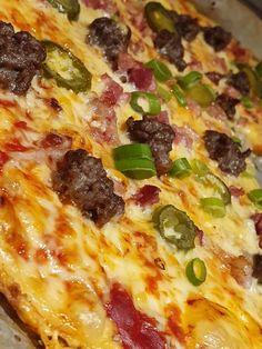lavkarbomedhanne – Supergod Lavkarbo pizza uten melerstatning Hawaiian Pizza, Ketchup, Pepperoni, Vegetable Pizza, Bacon, Vegetables, Food, Essen, Vegetable Recipes