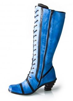Eject Shoes. Blue boots with laces and stairstep heels