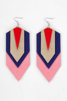 leather earrings geometric