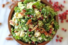 Kale Salad with Meyer Lemon Vinaigrette  - chockfull of avocado, quinoa, pomegranate seeds, pecans, and crumbly goat cheese tossed in a meyer lemon vinaigrette. It's perfect as a light lunch or even a meatless Monday dinner option.