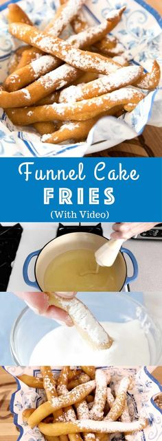 Easy Funnel Cake Fries - delicious cake batter becomes perfect crispy pom . - Easy Funnel Cake Fries – delicious cake batter is fried to perfect crispy french fries. Funnel Cake Batter, Funnel Cake Fries, Funnel Cakes, Brownie Batter, Easy Desserts, Dessert Recipes, Easy Delicious Desserts, Deep Fried Desserts, Cake Recipes