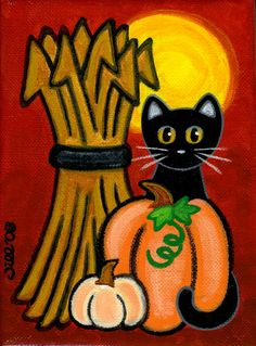 Original Canvas Folk Art PAINTING  Black CAT Harvest by thatsmycat, $25.00