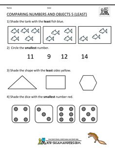 kindergarten math worksheets comparing numbers objects  - lots of free printables!