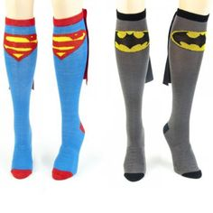 Superman and Batman Socks with Capes $12.00