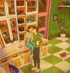Um beijinho enquanto tomamos café
