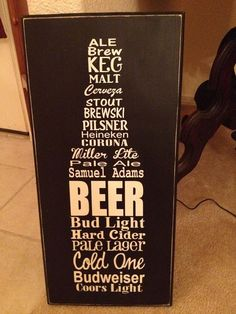 """Beer Lover's Subway Sign 12x24"""" Wood - Customizable"""