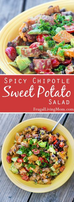 Chipotle Sweet Potato Salad Looking for great salad? Check out this Spicy Chipotle Sweet Potato Salad. It's got ALL the good stuff.Looking for great salad? Check out this Spicy Chipotle Sweet Potato Salad. It's got ALL the good stuff. Salad With Sweet Potato, Potato Salad, Vegetarian Recipes, Cooking Recipes, Healthy Recipes, Smoker Recipes, Cooking Tips, I Love Food, Good Food